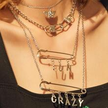 2pcs Letter & Safety Pin Charm Layered Necklace
