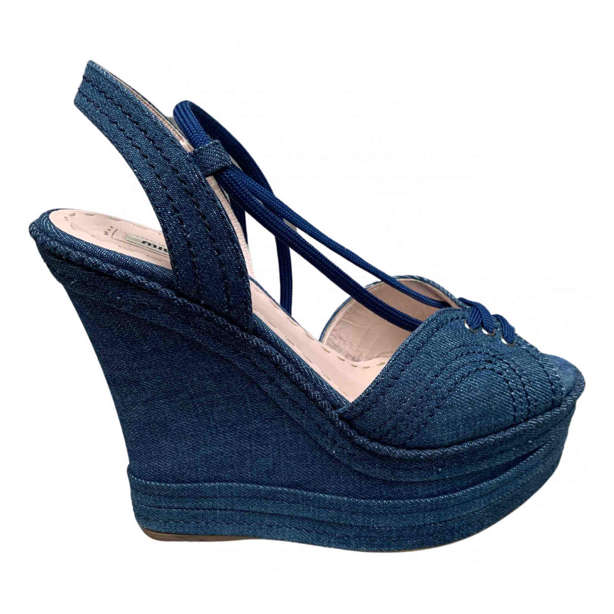 Miu Miu - Sandales   pour femme en toile - bleu