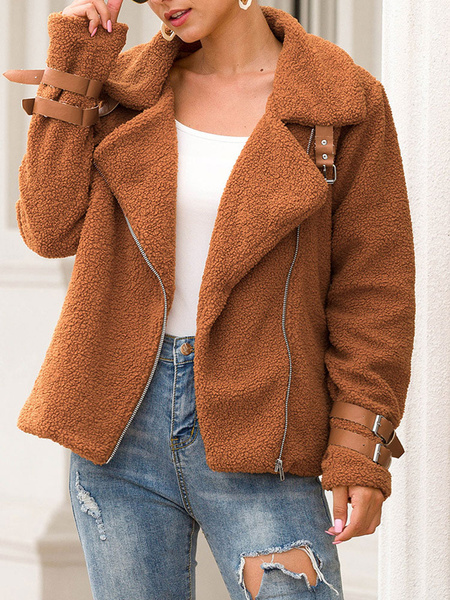 Milanoo Women\'s Jackets Turndown Collar Casual Zipper Faux Fur Burgundy Winter Jacket
