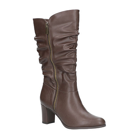 Easy Street Womens Mara Slouch Boots Block Heel, 10 Medium, Brown