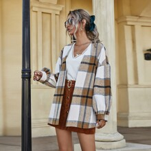 Plaid Drop Shoulder Wool-mix Boyfriend Overcoat