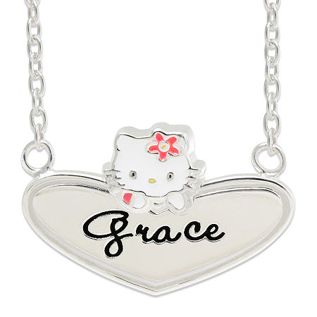 Hello Kitty Personalized Sterling Silver and Enamel Heart Necklace, One Size , White