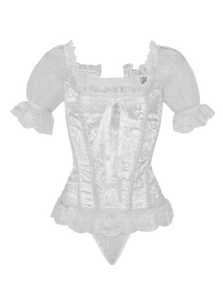 Milanoo Corset White Women Jacquard Short Sleeve Top Halloween Steampunk Costume