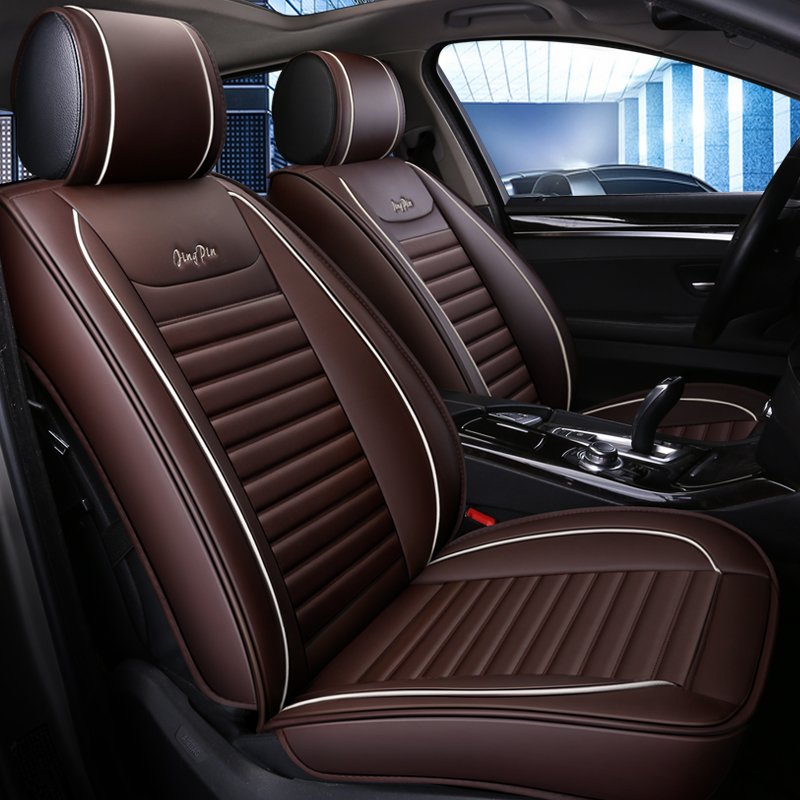 Business Style Color Block PU Leather Universal Car Seat Cover