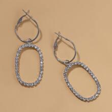 Rhinestone Geometric Drop Earrings