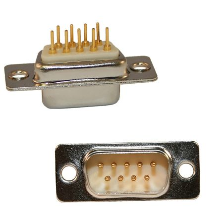 Norcomp 9 Way Vertical PCB D-sub Connector Plug, 2.54mm Pitch, with 4-40 Spacer/Board Lock (80)