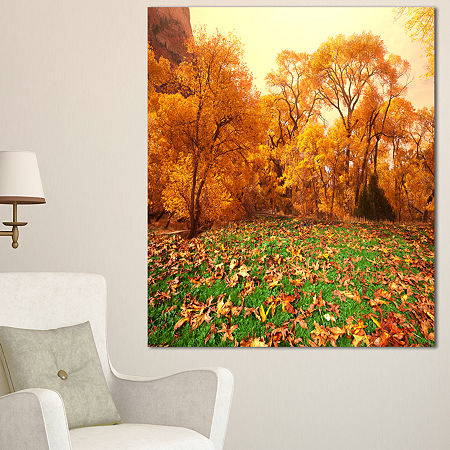 Designart Beautiful Autumn With Green Grass Oversized Landscape Canvas Art, One Size , Green