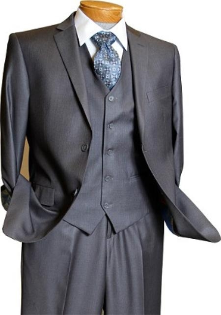 2 Button 3 Piece Grey Pinstripe Vested Slim Fit Suit Mens Cheap