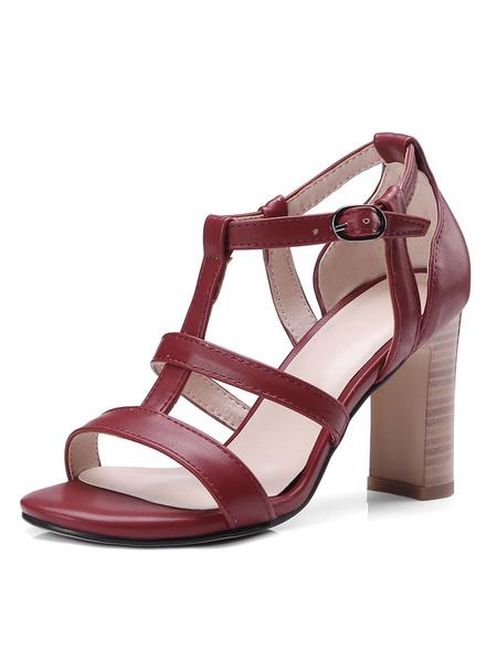 Milanoo High Heel Sandals Womens T-strap Open Toe Chunky Heel Sandals