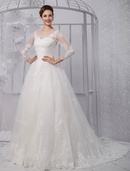 Milanoo Long Sleeves Illusion Neck-line Lace Bridal Wedding Gown With Tulle Overskirt(Veil isn't included)
