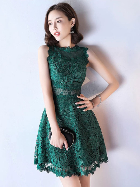 Milanoo Lace Mother Dress Dark Green Cocktail Dress Illusion Waist A Line Short Wedding Guest Dresses