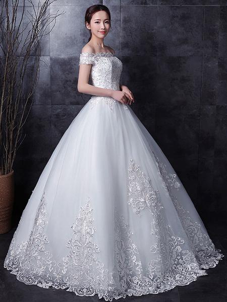 Milanoo White Wedding Dresses Lace Off Shoulder Short Sleeve Lace Applique Floor Length Bridal Dress