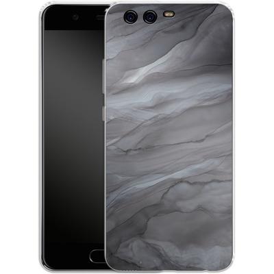 Huawei P10 Silikon Handyhuelle - Black Watercolour Marble von Becky Starsmore
