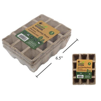 Garden Essentials Seed Starting Trays 3pcs, 6.5x4.5x2