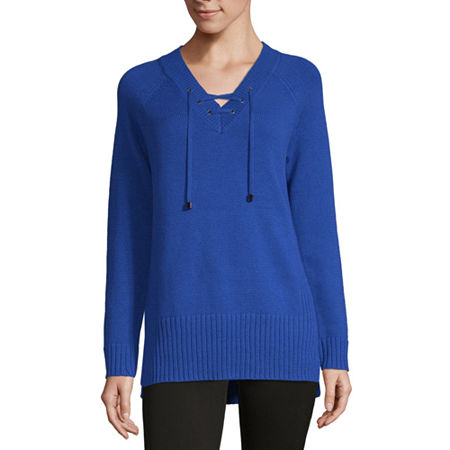 Liz Claiborne Weekend Womens V Neck Long Sleeve Pullover Sweater, Small , Blue