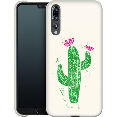 Huawei P20 Pro Smartphone Huelle - Linocut Cacti von Bianca Green