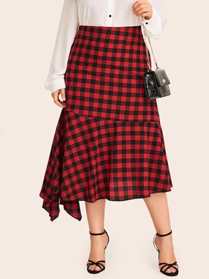 Ericdress Plus Size Plaid A-Line Asymmetric Elegant Skirt