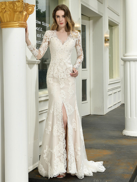 Milanoo Boho Wedding Dress V Neck Sleeveless Natural Waist Lace Bridal Gowns With Train