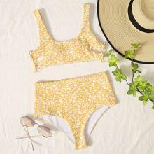 Ditsy Floral High Waist Bikini Swimsuit