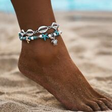 Shell & Starfish Decor Anklet 2pcs