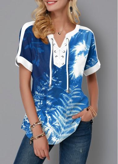 Lace Up Tie Dye Tropical Print Blouse - L
