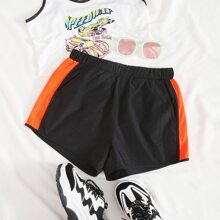Contrast Side Seam Track Shorts