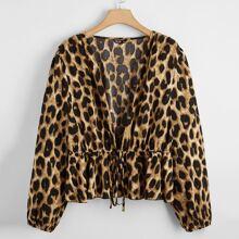 Tops de mujeres de talla grande Volante rigido Leopardo Multicolor Elegante
