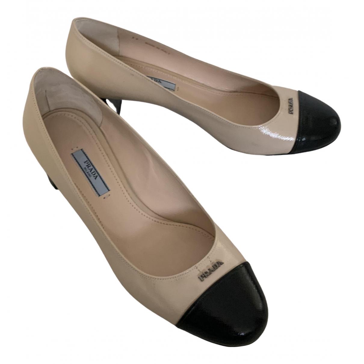 Prada N Beige Patent leather Heels for Women 39 EU