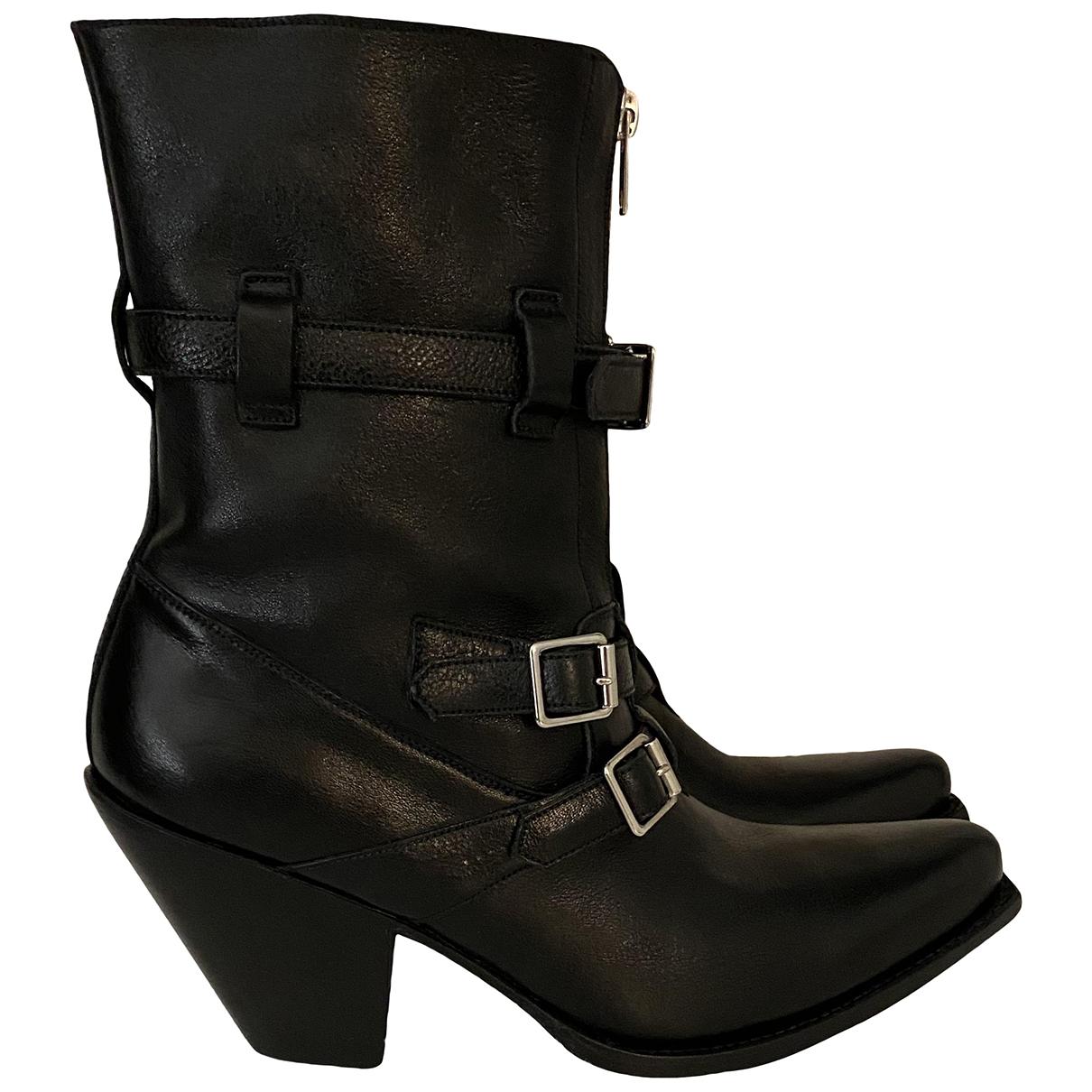Celine - Boots   pour femme en cuir - noir