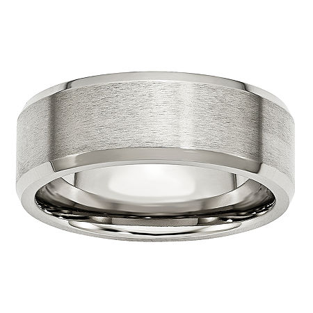 Mens 8mm Stainless Steel Wedding Band, 8 1/2 , No Color Family