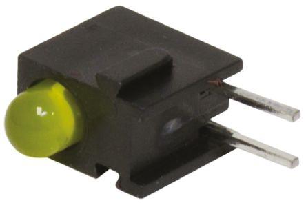 Bivar H100CYDL, Yellow Right Angle PCB LED Indicator, Through Hole 2.2 V (10)