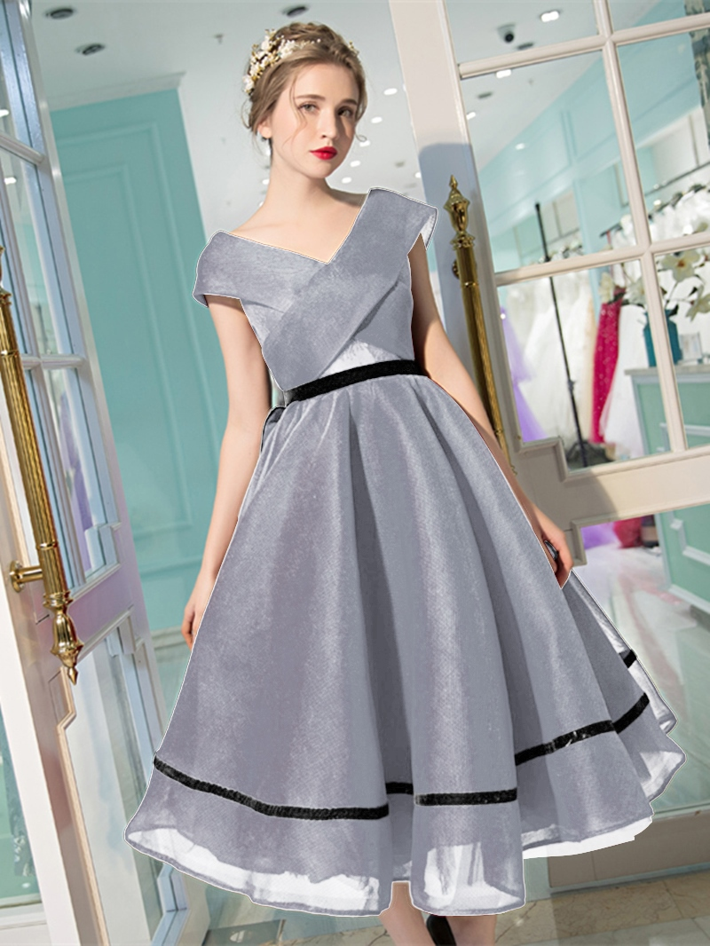 Ericdress A-Line Cap Sleeves Tea-length Evening Dress With Bowknot