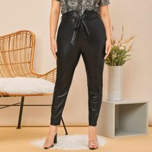 Plus Notched Waist Belted PU Leather Pants