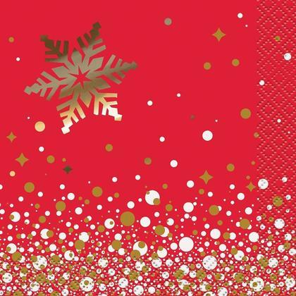 Foil Gold Sparkle Christmas Beverage Paper Napkins, 16Pcs/Pack