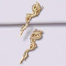 2pcs Chinese Dragon Decor Hair Clip