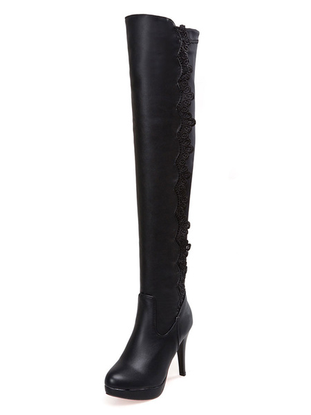 Milanoo Over The Knee Boots Womens PU Lace-detailed Round Toe Stiletto Heel Thigh High Boots
