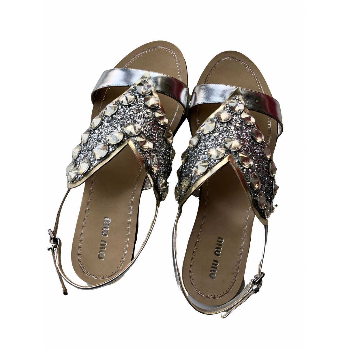 Miu Miu \N Silver Leather Sandals for Women 38.5 EU