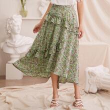 Ruffle Trim Asymmetrical Hem Ditsy Floral Skirt