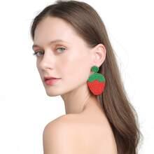 Strawberry Beaded Drop Earrings