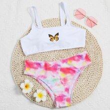 Bikini Badeanzug mit Schmetterling Muster & Batik