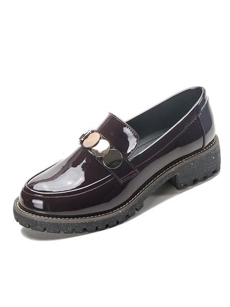Milanoo Black Women Loafers Round Toe Metal Detail Slip On Flat Shoes