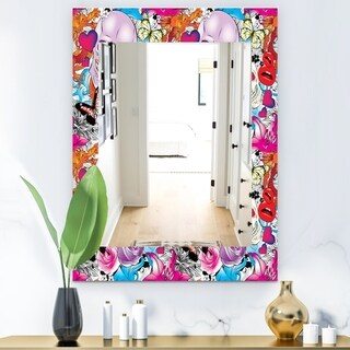 Designart 'Pattern With Hearts, Skulls and Flowers' Bohemian and Eclectic Mirror - Modern Wall Mirror (29.5 in. wide x 39.4 in. high)