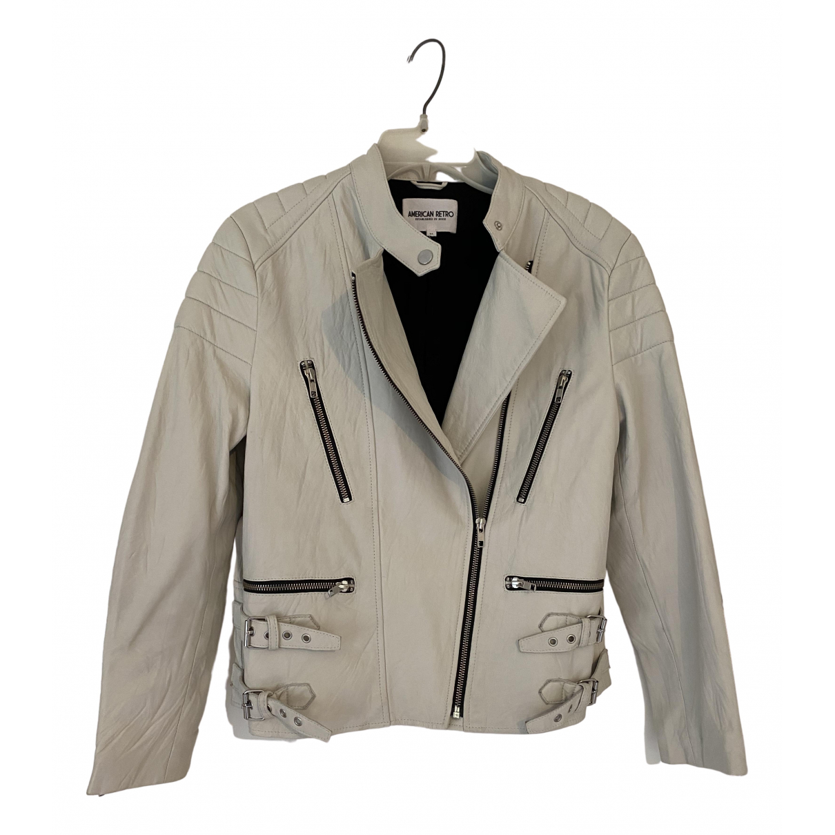 American Retro \N White Leather jacket for Women 42 FR
