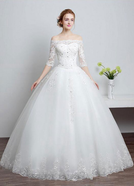 Milanoo Lace Wedding Dress Off The Shoulder Ivory A Line Lace Up Half Sleeve Sequined Floor Length Bridal Dress