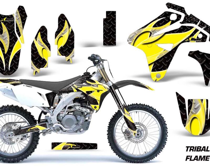 AMR Racing Dirt Bike Graphics Kit MX Decal Sticker Wrap For Suzuki RMZ450 2007áTRIBAL YELLOW BLACK