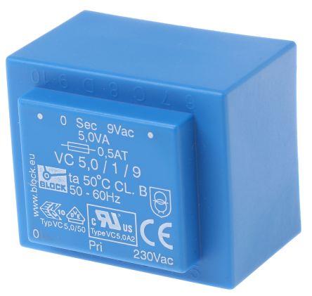 Block 9V ac 1 Output Through Hole PCB Transformer, 5VA