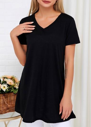 Black V Neck Short Sleeve T Shirt - S