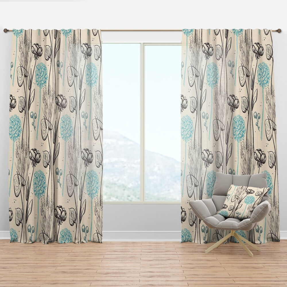 Designart 'Vintage Flower Pattern' Bohemian & Eclectic Curtain Panel (50 in. wide x 120 in. high - 1 Panel)