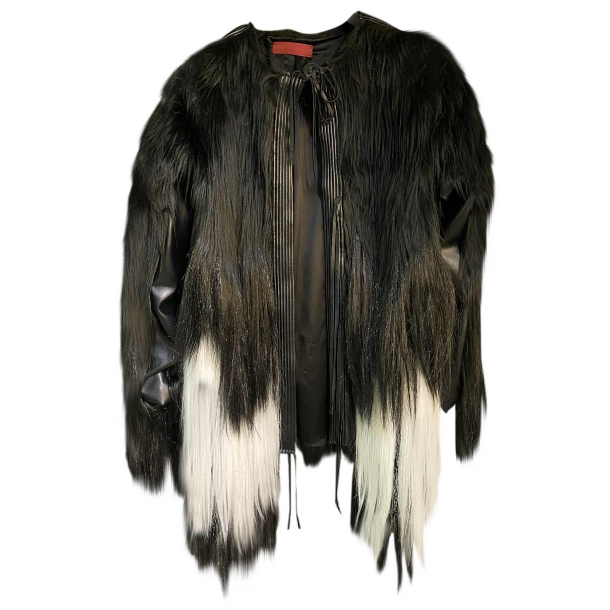 Non Signé / Unsigned N Black Faux fur coat for Women 40 IT