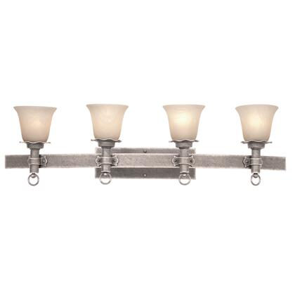 Americana 4204PS/1318 4-Light Bath in Pearl Silver with Antique Linen Standard Glass